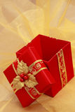 Red xmas present box Royalty Free Stock Images