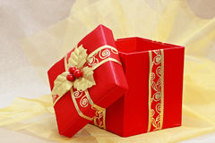 Red xmas present box Stock Photos