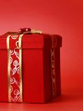 Red xmas present box Royalty Free Stock Photography