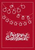Red xmas scandinavian greeting card with merry Christmas calligraphy lettering text. Hand drawn vector illustration of royalty free illustration