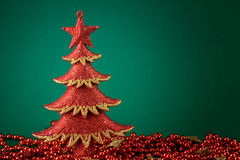 Red xmas tree card Royalty Free Stock Photo