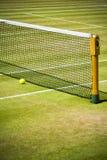 Red y bola del tenis en corte de hierba Foto de archivo