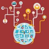 Red y comunicación global, conectando el mundo Imagen de archivo libre de regalías