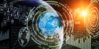 Red y de intercambio de datos globales sobre el mundo ilustración del vector