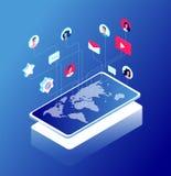 Red y mapa del mundo sociales Iconos del márketing de Internet, como y del mensaje Charlando y comunicación de Internet isométric ilustración del vector