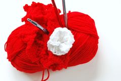 Red Yarn on White Stock Image