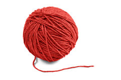 Red yarn ball. Red wool yarn ball  on white background Royalty Free Stock Photo