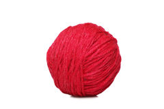Red yarn ball over white Stock Photography