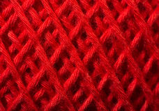 Red yarn close up Stock Photos
