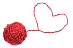 Red Yarn Heart Royalty Free Stock Photography