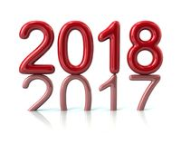 Red 2018 year number the previous year number pressing on the pa. 3d illustration red 2018 year number the previous year number pressing on the past on white Royalty Free Stock Photography