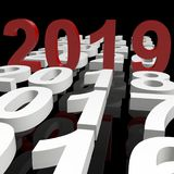 Red year 2019 stands between white year numbers Stock Image