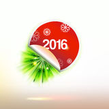 Red 2016 year sticker with green blur rays. Red New year sticker with green blur rays. Creative Holidays party vector banner Royalty Free Stock Images