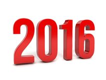 Red 2016 year on a white background. 3d rendered. Image Royalty Free Stock Image
