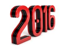 Red 2016 year on a white background. 3d rendered Royalty Free Stock Photos