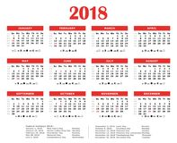 2018 Red yearly calendar. Federal holidays, moon and numbers of weeks Stock Photos