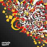 Red yellow abstract art corner design. Vector illustration of a funky retro circles, squares and swirls cute design corner background Stock Image