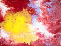 Red and yellow abstract creative hand painted background. Acrylic painting on canvas. Creative abstract hand painted texture, background, wallpaper Royalty Free Stock Photo
