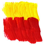 Red and yellow acrylic texture and brush strokes. Useful design elements Stock Illustration
