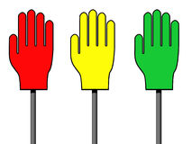 Red, Yellow And Green Palm Signs Royalty Free Stock Photo
