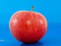 Red-yellow apple. On blue background Royalty Free Stock Images