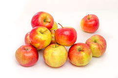 Red and yellow apple collection. Set of fruit isolated on white. Stock Image