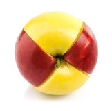 Red and yellow apple cuted by part Stock Photography