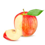 Red yellow apple with green leaf and slice isolated on white background Stock Photos