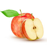 Red yellow apple with green leaf and slice  on white background Stock Photo
