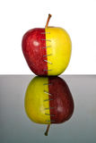 Red and yellow apple halves joined together Stock Photos