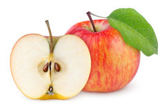 Red yellow apple with leaf and half Stock Photography
