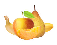 Red and yellow apple, peach, banana and pear isolated on white Royalty Free Stock Images