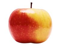Red-Yellow Apple w/ Path (Side View). Colorful shiny fruit on a white background. File contains clipping path Stock Image