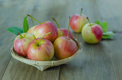 Red and yellow apple   on wooden background Stock Photography
