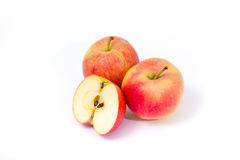 Red yellow apples on a white background Royalty Free Stock Image