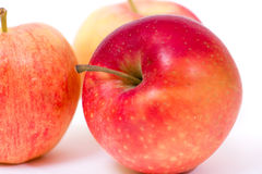 Red yellow apples on a white background Stock Image