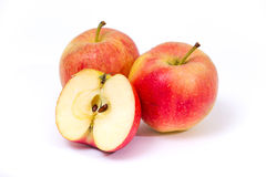 Red yellow apples on a white background Royalty Free Stock Photo