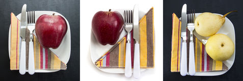 Red and yellow apples on white plates, set. Vitamin, low-calorie, vegetarian and special diet breakfasts and healthy Royalty Free Stock Photography