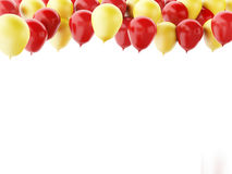 Red and yellow balloons isolated on white background. 3d renderer illustration.  Red and yellow balloons  isolated on white background Royalty Free Stock Images
