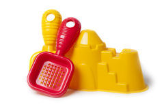 Red and yellow beach toys Royalty Free Stock Photos