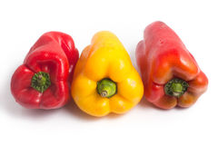 Red and Yellow Bell Pepper. Isolated on white background Stock Photo