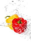Red and yellow bell pepper thrown into a water Royalty Free Stock Image