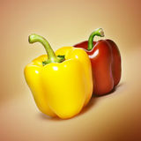 Red and yellow bell peppers Royalty Free Stock Images