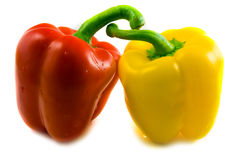 Red and yellow bell peppers Stock Photography