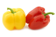 Red and yellow bell peppers (capsicum) Stock Images