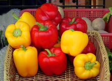 Red and Yellow Bell Peppers Royalty Free Stock Photo