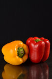 Red and Yellow bell peppers. Fresh bell peppers on a wet black background Royalty Free Stock Photo
