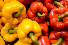 Peppers. Red and yellow bell peppers at a market Stock Photo