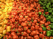 Red yellow bell peppers mix paprika in market Royalty Free Stock Photo