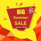 Red and yellow big summer sale poster. Red and yellow big summer sale up to 50 off special offer poster. Vector paper illustration Stock Photos